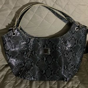 Grey & Black, Python Skin Bag/Faux leather